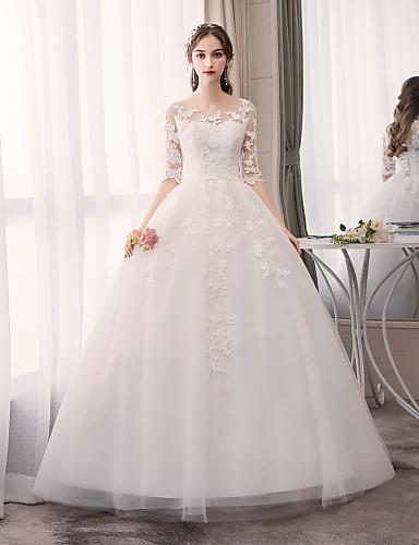 abordables Robes de Mariée 2019-Robe de Soirée Bijoux Longueur Sol Tulle Robes de mariée sur mesure avec Appliques par LAN TING Express