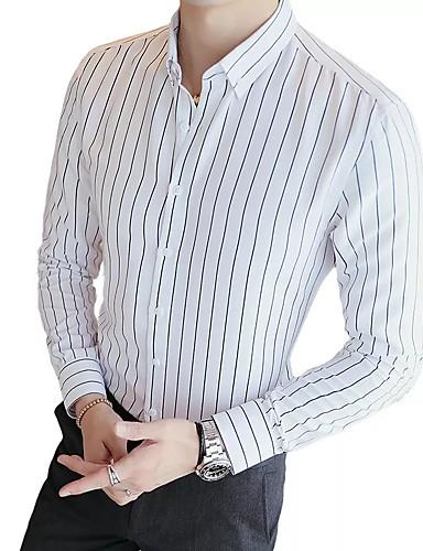voordelige Herenoverhemden-Heren Standaard Overhemd Gestreept Zwart