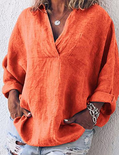 billige Dametopper-Skjorte Dame - Ensfarget Oransje