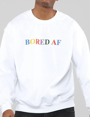 billige Hættetrøjer og sweatshirts til herrer-Herre Afslappet Rund hals Sweatshirt - Bogstaver