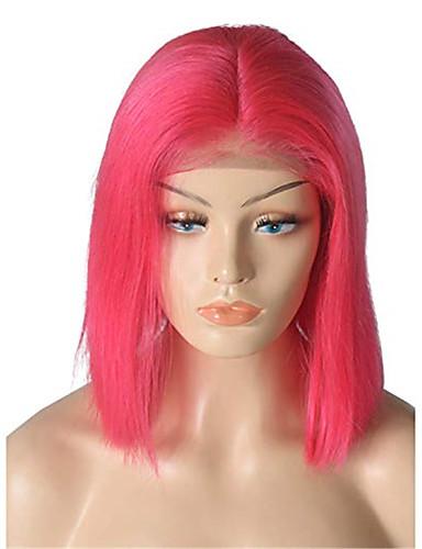 povoljno Perike s ljudskom kosom-Remy kosa Lace Front Perika Bob frizura Srednji dio stil Brazilska kosa Ravan kroj Crvena Perika 130% Gustoća kose Crvena Žene Kratko Perike s ljudskom kosom beikashang