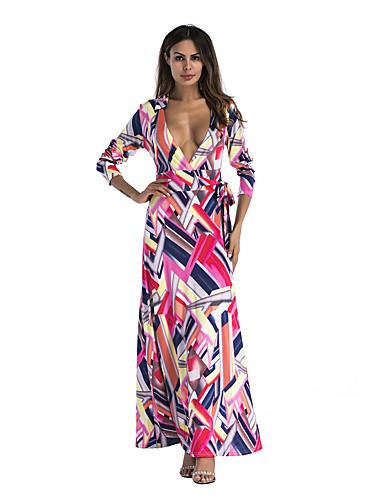 abordables Robes Femme-Femme Elégant Maxi Balançoire Robe - Imprimé, Géométrique Bloc de Couleur Fuchsia S M L Manches Longues