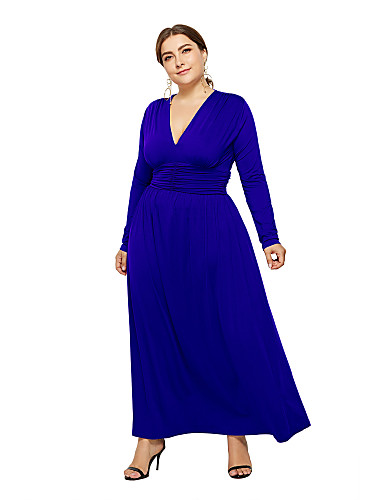 voordelige Grote maten jurken-Dames Elegant Recht Jurk - Effen Asymmetrisch