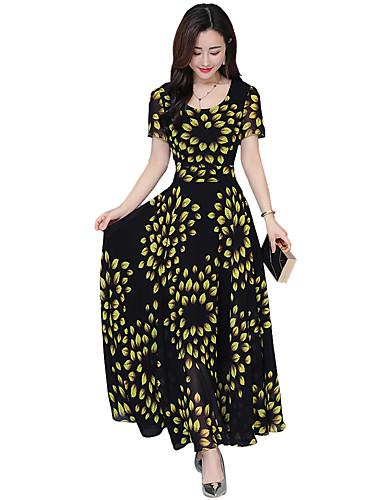 voordelige Maxi-jurken-Dames A-lijn Jurk - Polka dot Maxi