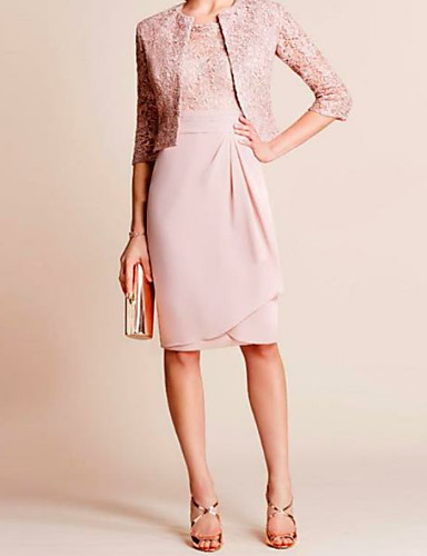 cheap Pre Sale-Sheath / Column / Two Piece Jewel Neck Knee Length Chiffon / Lace Mother of the Bride Dress with Ruching by LAN TING Express