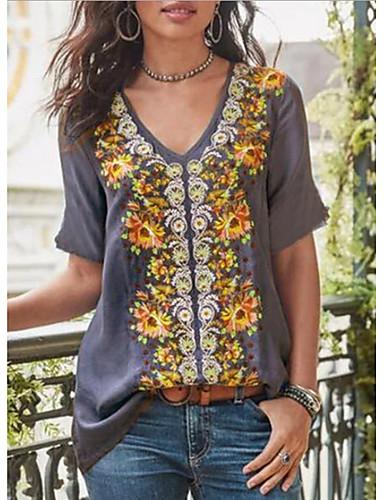 abordables Hauts pour Femme-Tee-shirt Femme, Géométrique Imprimé Basique Violet