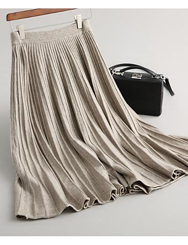abordables Jupes-Femme Trapèze Jupes - Couleur Pleine Noir Marron Gris Taille unique