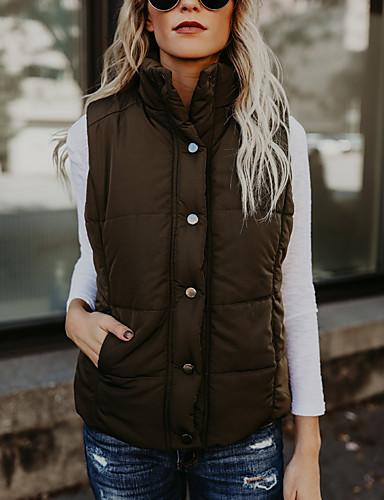 voordelige Dames donsjassen & parka's-Dames Effen Normaal Vest, Polyester Leger Groen S / M / L