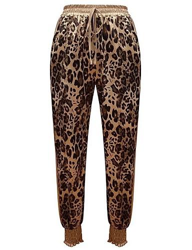 abordables Pantalons Femme-Femme Basique Chino Pantalon - Léopard Marron S M L
