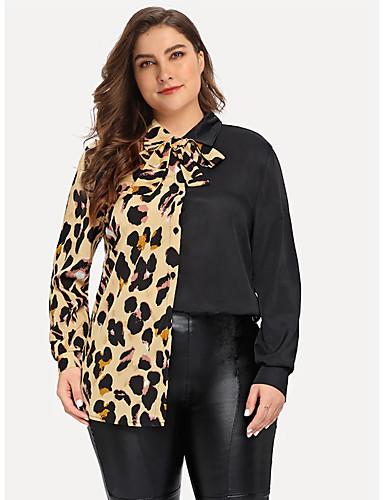 Majica Žene - Ulični šik Dnevno / Rad Leopard / Color block Mašna / Kolaž Crn