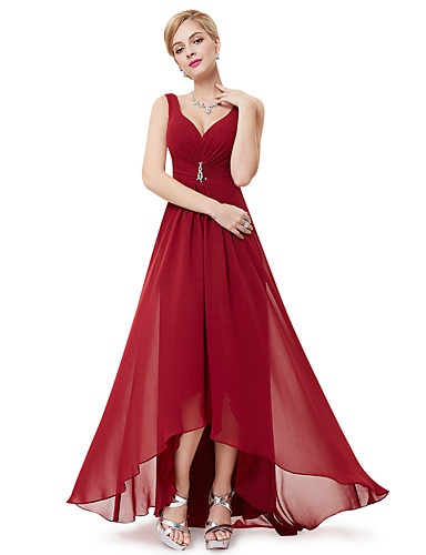 cheap Pre Sale-A-Line V Neck Asymmetrical Polyester Dress with Crystals / Draping by LAN TING Express