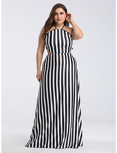 voordelige Grote maten jurken-Dames Boho Wijd uitlopend Jurk - Gestreept, Veters Maxi Zwart & Wit