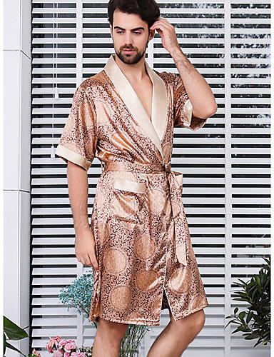 voordelige Herenondergoed & Zwemkleding-Heren Diepe V-hals / Overhemdkraag Kostuum Pyjama  - Polka dot / Geometrisch