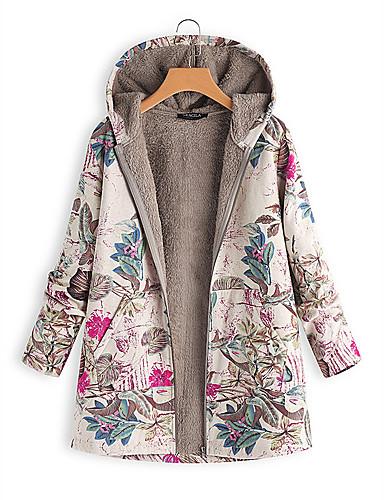 voordelige Dames donsjassen & parka's-Dames Bloemen Normaal Gewatteerd, Polyester Fuchsia / Oranje / Marineblauw S / M / L