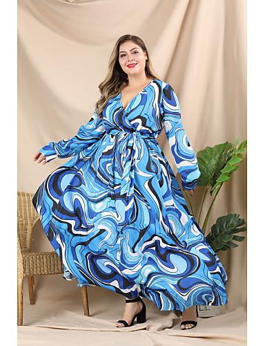 voordelige Maxi-jurken-Dames Street chic Elegant A-lijn Wijd uitlopend Jurk - Geometrisch Kleurenblok, Geplooid Veters Print Maxi Blauw
