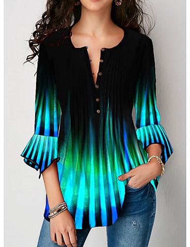 povoljno Ženske majice-Majica s rukavima Žene - Ulični šik Dnevno Color block Plava
