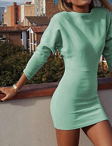 abordables Robes Femme-Femme Basique Au dessus du genou Moulante Robe Couleur Pleine Bleu Vert S M L Manches Longues