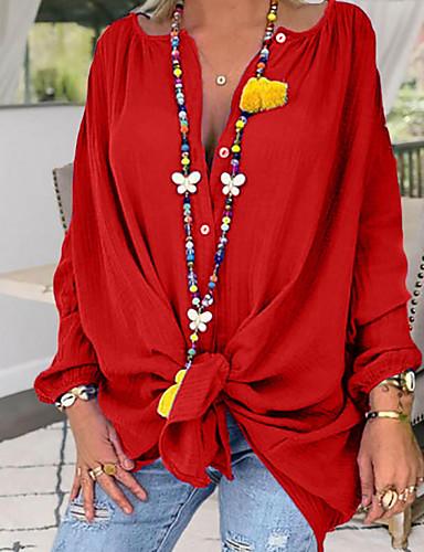 billige Dametopper-Skjorte Dame - Ensfarget Grunnleggende Svart