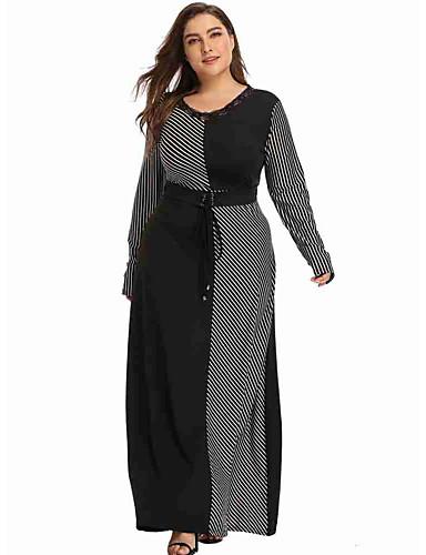 voordelige Grote maten jurken-Dames Wijd uitlopend Jurk - Effen Maxi