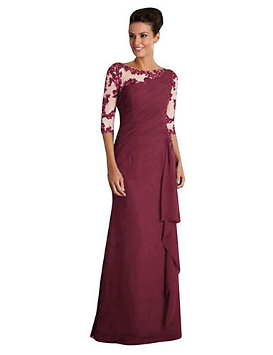 billige Kjoler-Dame Sofistikert Elegant A-linje Kroppstett Kjole Skjede Kjole - Ensfarget, Blonde Lapper Lace Trim Maksi