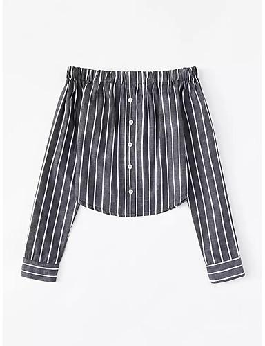 billige Dametopper-Skjorte Dame - Stripet Gatemote Svart