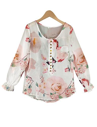 billige Dametopper-Bluse Dame - Geometrisk / Fargeblokk, Trykt mønster Grunnleggende Sommerfugl Regnbue