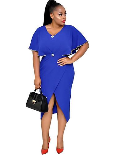 abordables Robes Femme-Femme Basique Midi Gaine Robe Couleur Pleine Noir Orange Bleu S M L Demi Manches