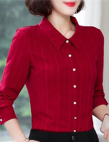 billige Topper til damer-Skjorte Dame - Stripet Chinoiserie Rød