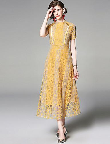voordelige Maxi-jurken-Dames Elegant Schede Jurk - Effen, Kant Cut Out Patchwork Maxi Blauw