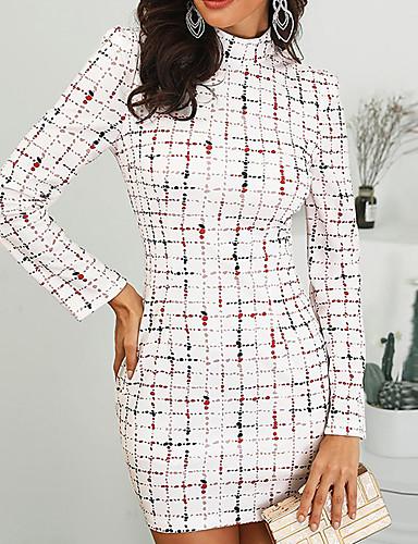 billige Kjoler-Dame Kroppstett Kjole Skjede Kjole - Geometrisk Mini