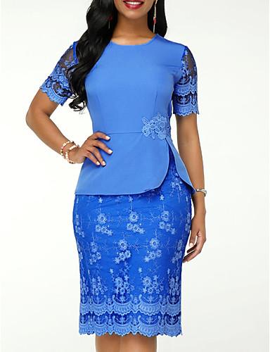 cheap Sale-Women's Elegant Sheath Dress - Solid Colored Lace Lace Blue XL XXL XXXL