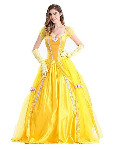 billige Film & TV-kostymer-Prinsesse Eventyr Belle Kjoler Dame Jente Film-Cosplay Prinsesse Gul Kjole Hansker Halloween Karneval Nytt År Terylene