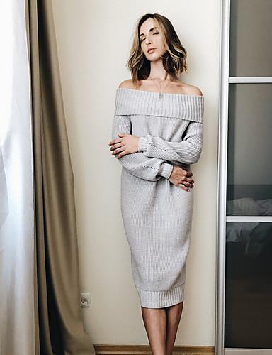 abordables Robes Femme-Femme Midi Tricot Robe Couleur Pleine Violet Gris S M L Manches Longues