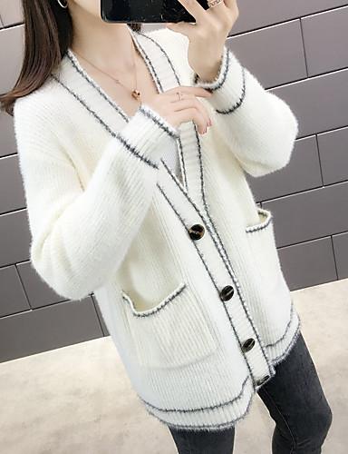 ราคาถูก เสื้อผู้หญิง-สำหรับผู้หญิง สีพื้น แขนยาว ชุดคลุมไหล, คอวี / คอซอง ฤดูใบไม้ผลิ / ตก สีดำ / ขาว ขนาดเดียว