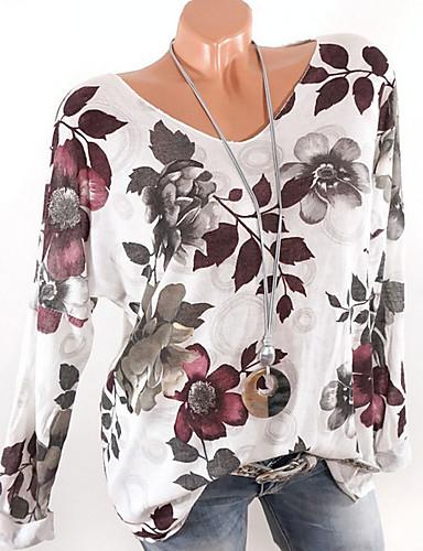 abordables Hauts pour Femme-Tee-shirt Femme, Fleur Col en V Blanche