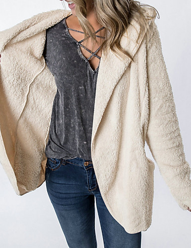 ราคาถูก ชุดคลุมสตรี-สำหรับผู้หญิง ทุกวัน ฤดูใบไม้ร่วง & ฤดูหนาว ปกติ Faux Fur Coat, สีพื้น ฮู้ด แขนยาว ขนสัตว์เทียม อาร์มี่ กรีน / สีน้ำตาล / ผ้าขนสัตว์สีธรรมชาติ
