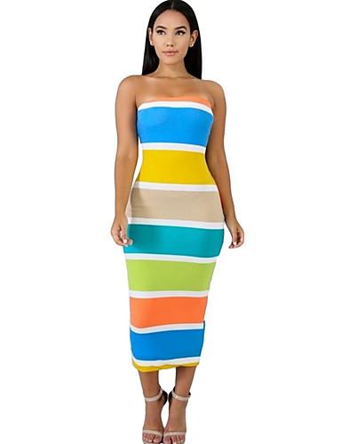 Kadın's Temel Bandaj Elbise - Zıt Renkli Midi