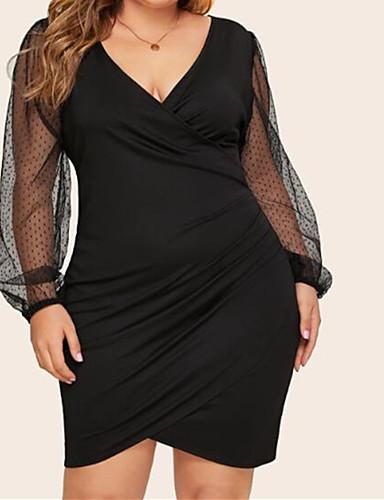 voordelige Grote maten jurken-Dames Standaard Street chic Bodycon Jurk - Effen, Netstof Tot de knie Zwart