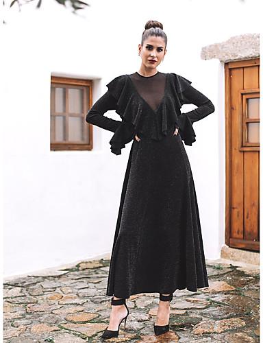 abordables Robes Femme-Femme Basique Maxi Trapèze Robe - A Volants Maille Mosaïque, Couleur Pleine Noir Noir S M L Manches Longues