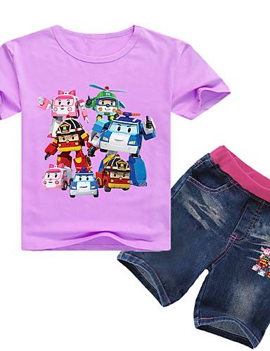 Çocuklar Toddler Genç Erkek Temel Desen Desen Kısa Kollu Normal Normal Pamuklu Kıyafet Seti Doğal Pembe