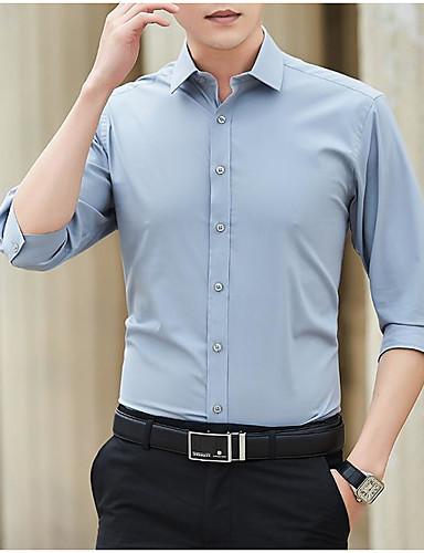 Pánské - Jednobarevné Košile Černá