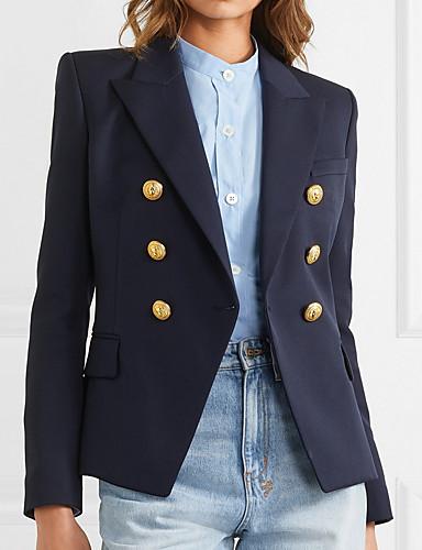 voordelige Damesblazers & jasjes-Dames Blazer Puntige revers Polyester Marineblauw