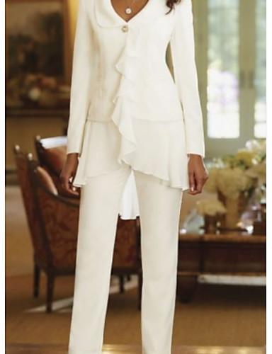 voordelige Wrap Dresses-Tweedelig / pantsuit V-hals Tot de grond Polyester Bruidsmoederjurken met Gelaagde ruches door LAN TING Express / Wrap inbegrepen