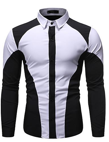 hesapli Erkek Gömlekleri-Erkek Gömlek Kırk Yama, Zıt Renkli Temel Siyah