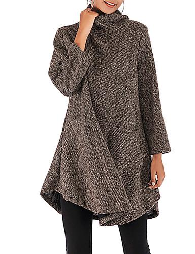 abordables Robes Femme-Femme Au dessus du genou Gaine Tricot Robe Couleur Pleine Marron Gris M L XL Manches Longues