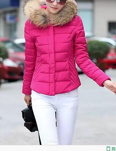 billige Ytterklær til damer-Dame Ensfarget Kort Polstret, Polyester Svart / Lilla / Rosa M / L / XL