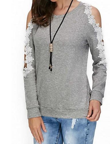 billige Topper til damer-T-skjorte Dame - Geometrisk Grunnleggende Grå