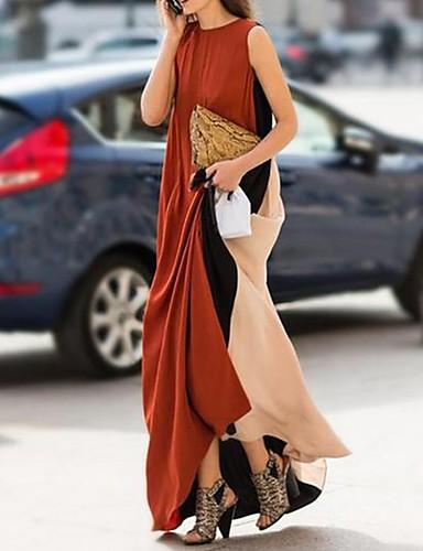 abordables Robes Femme-Femme Maxi Tee Shirt Robe Bloc de Couleur Marron S M L Sans Manches