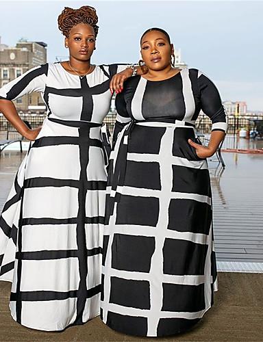 voordelige Grote maten jurken-Dames Street chic Elegant A-lijn Schede Wijd uitlopend Jurk - Kleurenblok Ruitjes Blokken, Veters Print Maxi Zwart & Wit Zwart grijs Zwart