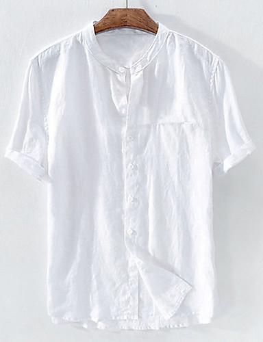 voordelige Uitverkoop-Heren Standaard Patchwork EU / VS maat - Overhemd Linnen Effen Opstaande boord Wit